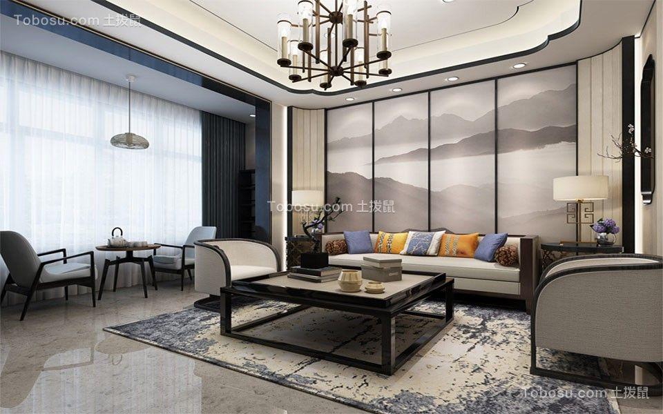 文峰佳苑120平三居室方新中式风格装修效果图