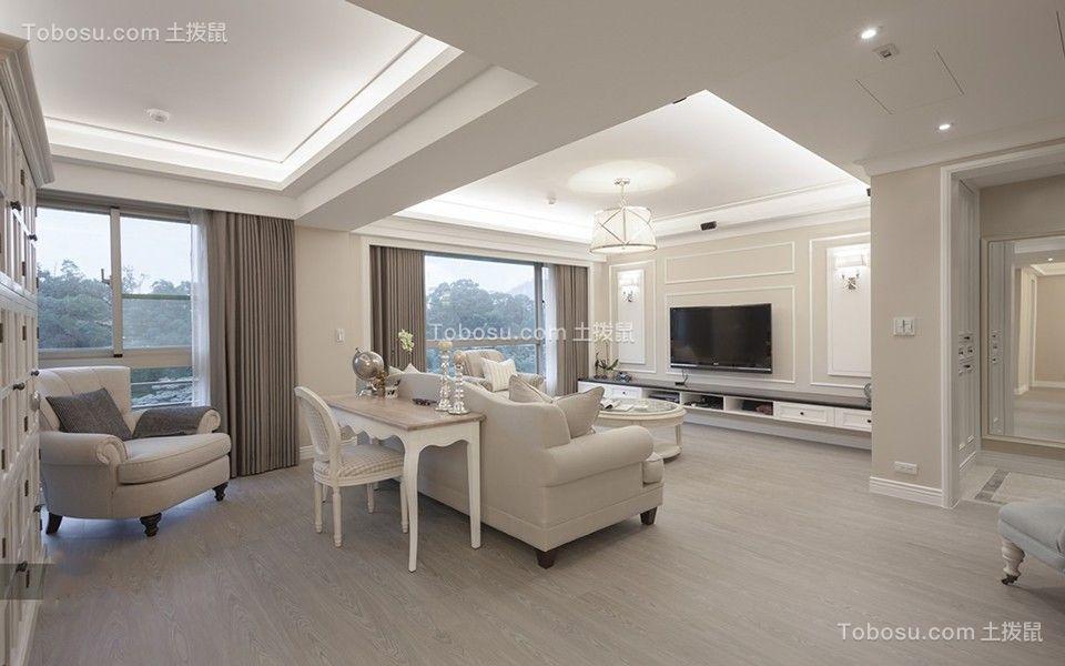 客厅白色吊顶法式风格装修设计图片