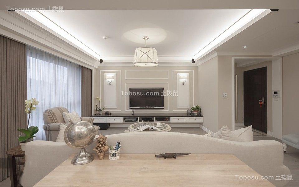 客厅咖啡色窗帘法式风格装饰设计图片