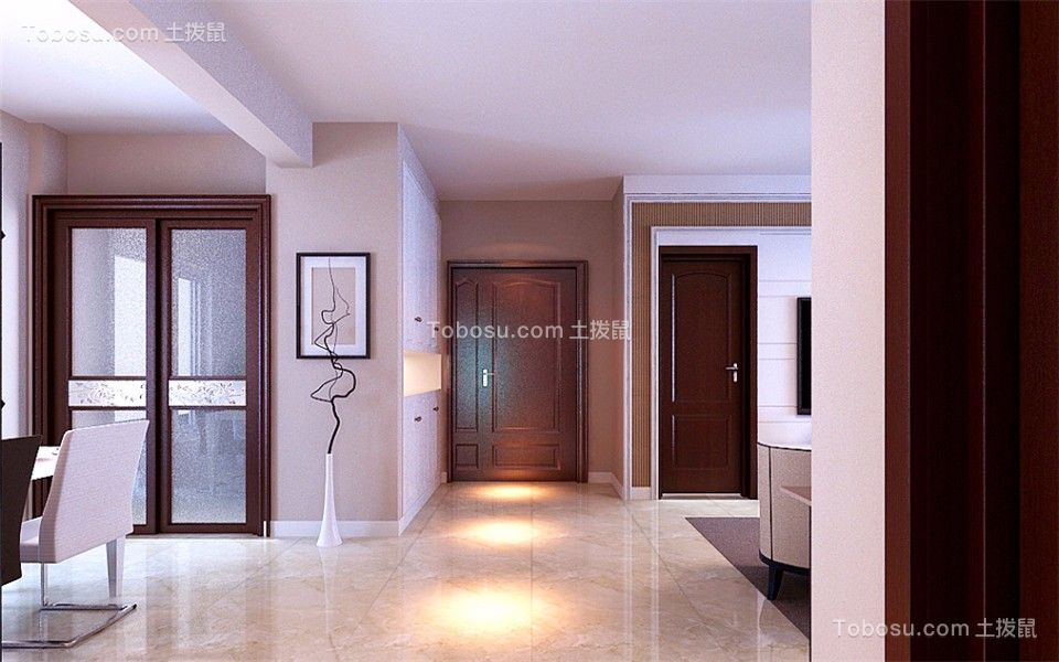 玄关咖啡色门厅简约风格装修图片