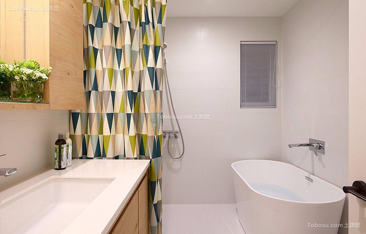 卫生间白色洗漱台现代简约风格装潢效果图