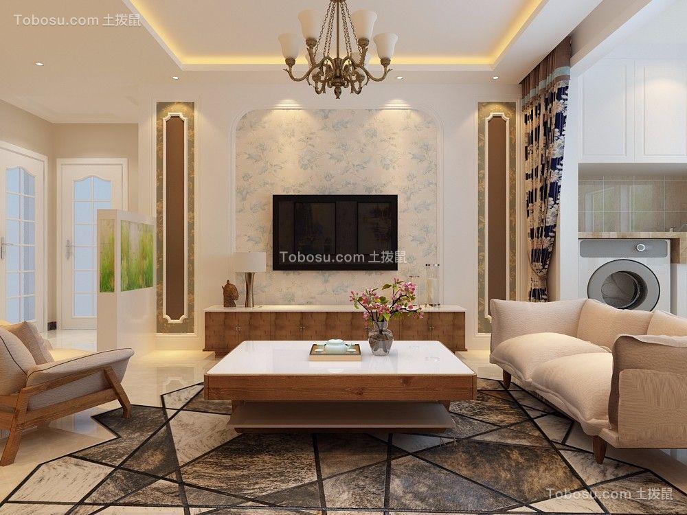 客厅白色背景墙简欧风格装饰图片