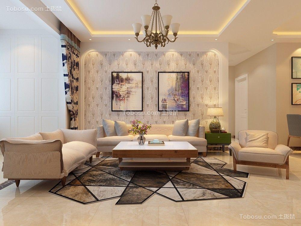 客厅白色照片墙简欧风格装潢图片