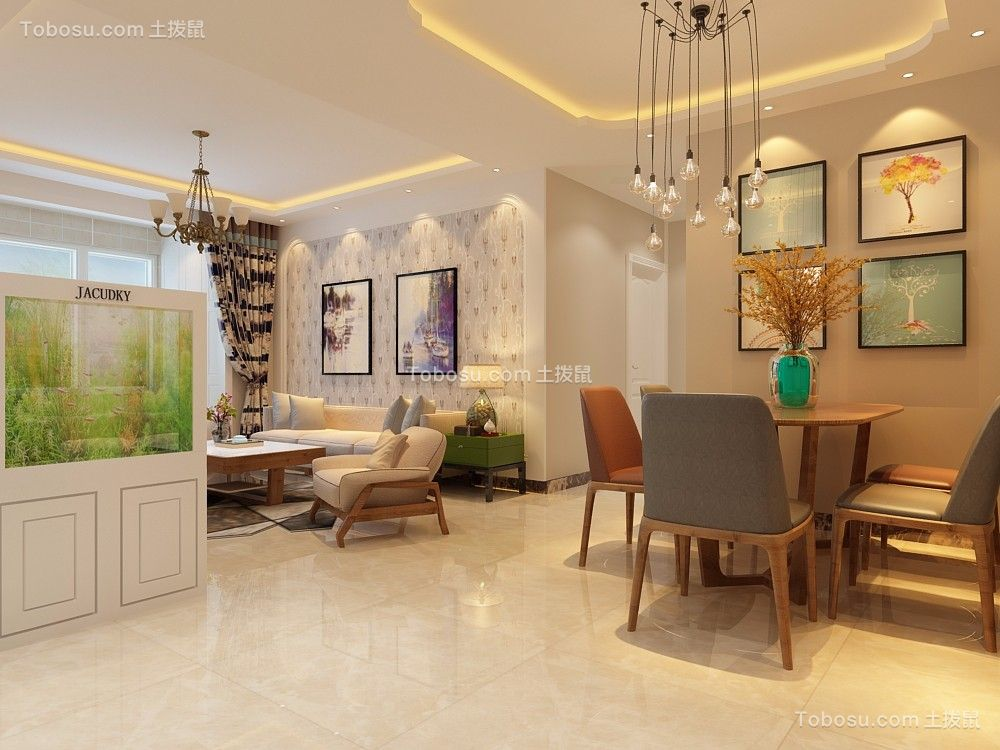 客厅白色细节简欧风格装修设计图片