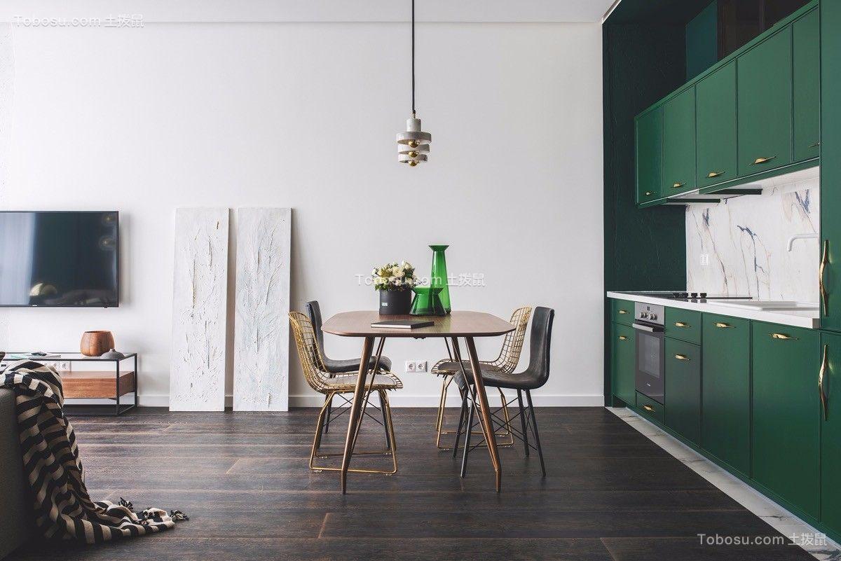 餐厅咖啡色餐桌北欧风格装潢设计图片