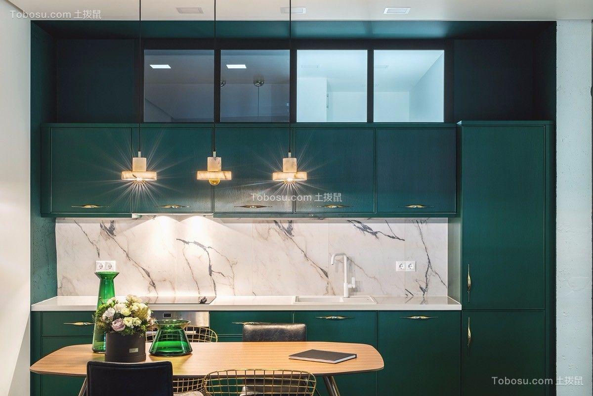厨房绿色橱柜北欧风格装修效果图