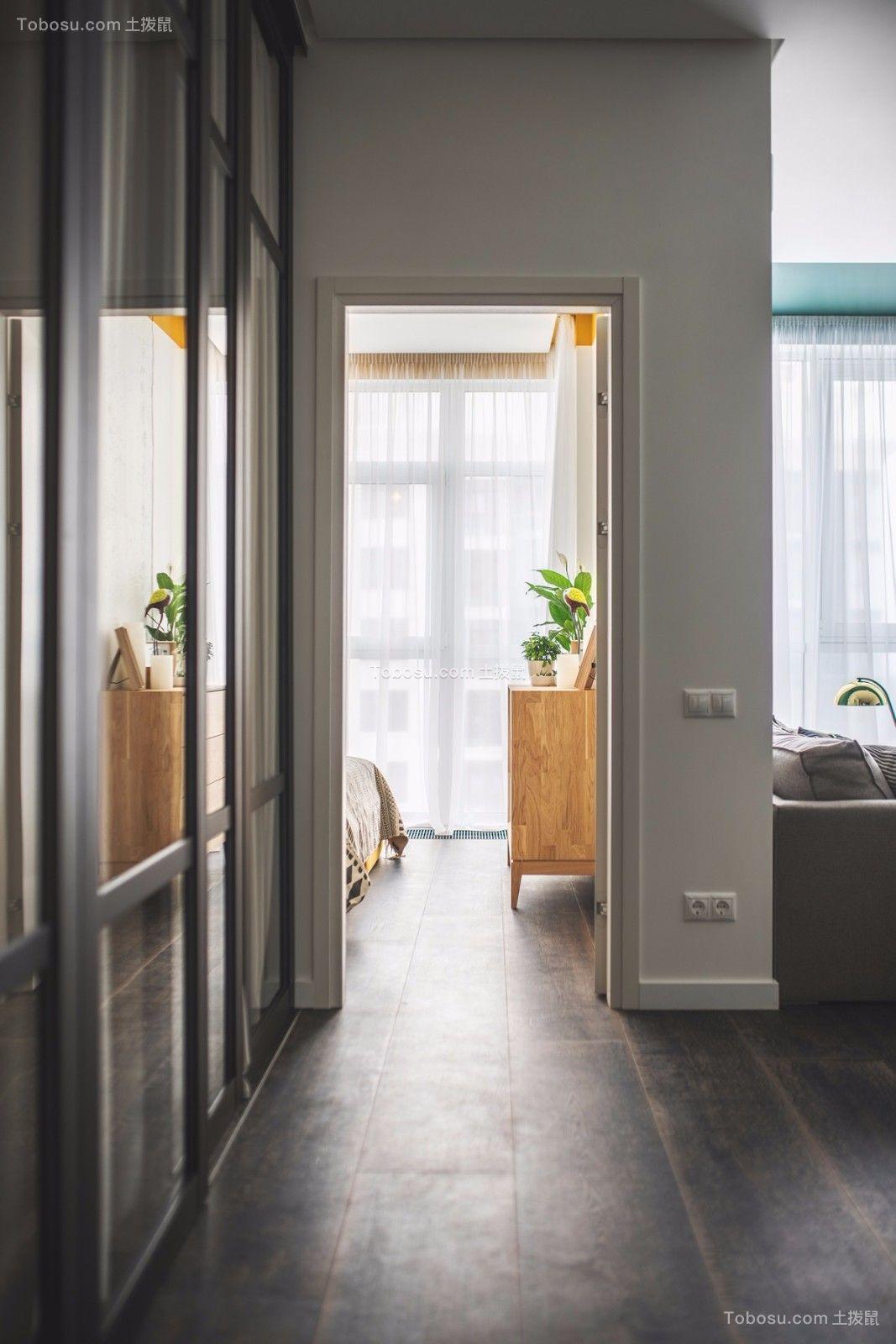 卧室白色窗帘北欧风格装饰效果图