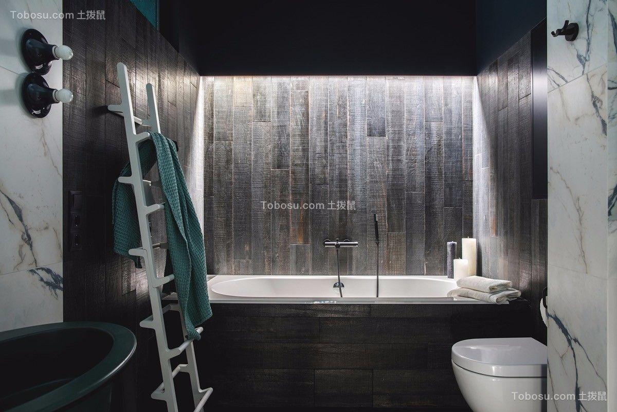 浴室黑色浴缸北欧风格装饰图片
