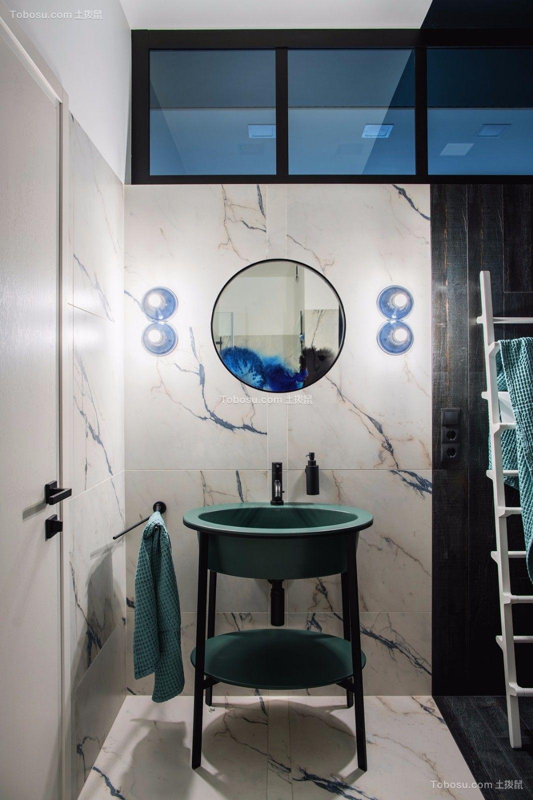 浴室绿色洗漱台北欧风格装潢图片