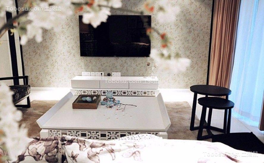 华宇锦绣花城中式风格96平三居室装修效果图