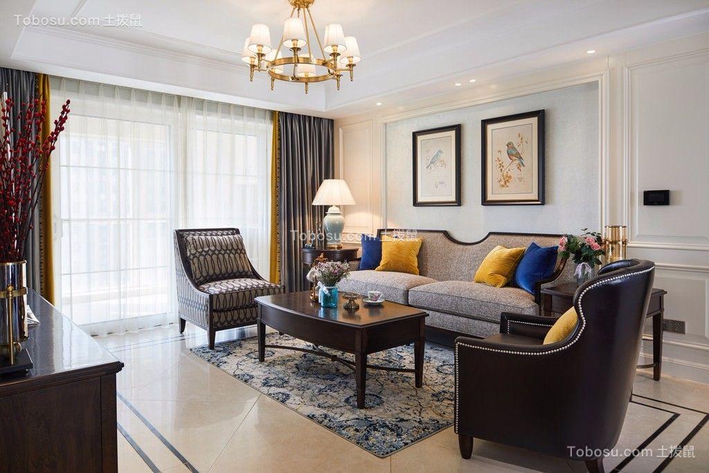 客厅白色窗帘美式风格装饰图片
