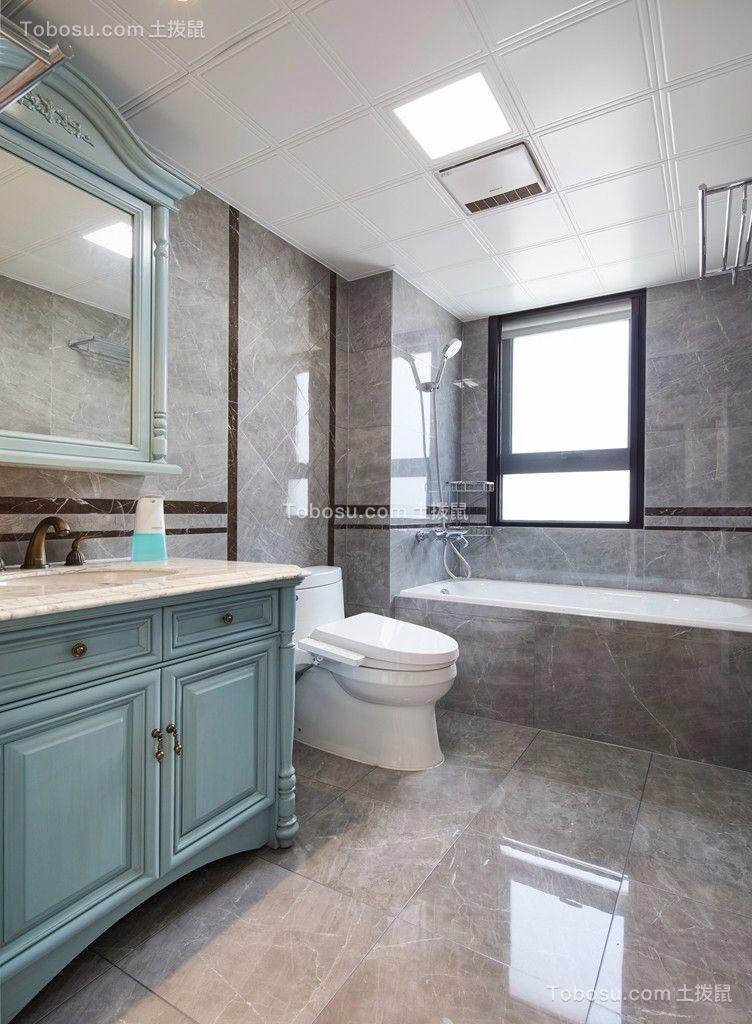 卫生间白色地板砖美式风格装潢设计图片