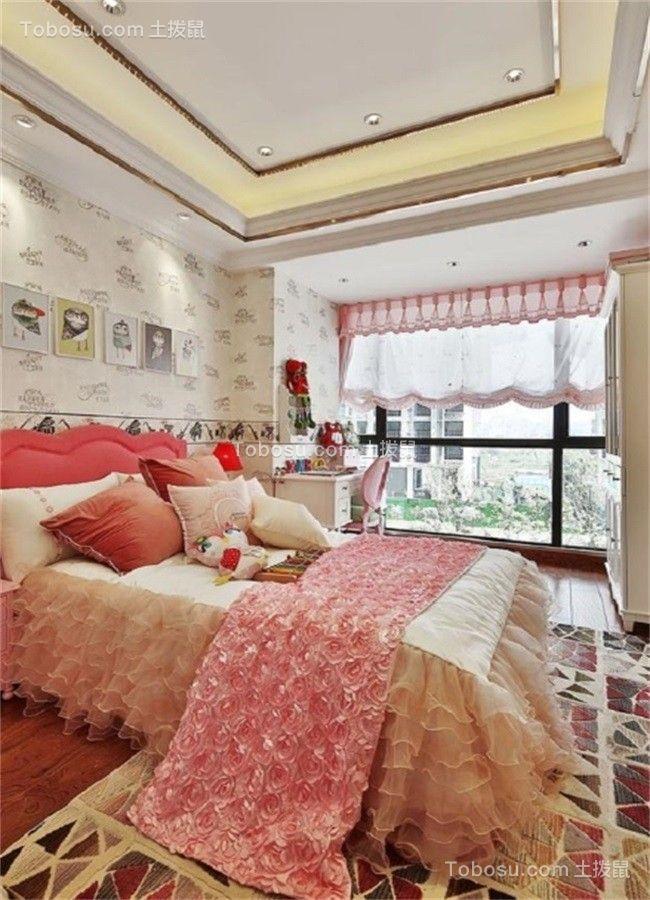 儿童房粉色窗帘欧式风格装潢设计图片