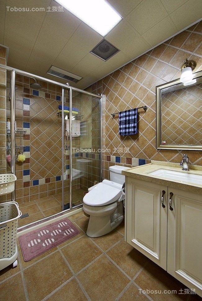 卫生间 洗漱台_美式风格120平米三室两厅新房装修效果图