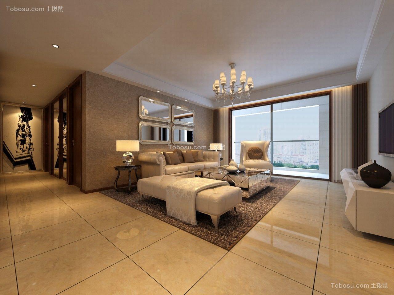 108平米简约风格三室一厅装修效果图