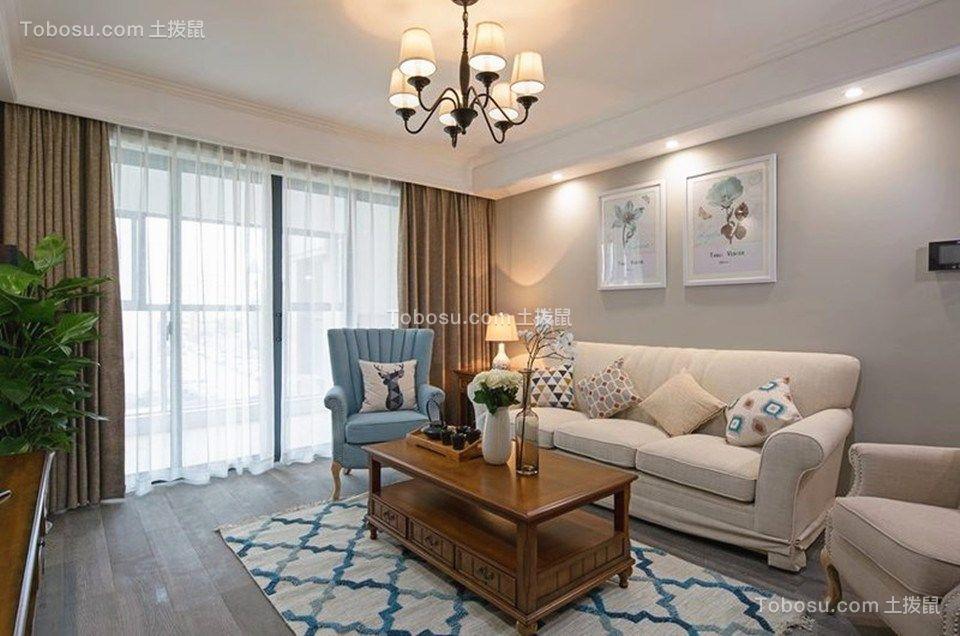 东湖城106平米现代北欧三居室装修效果图