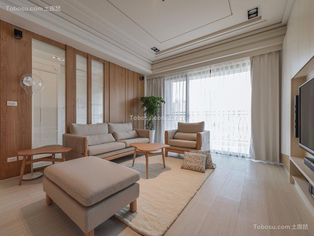 12万预算113平米三室两厅装修效果图