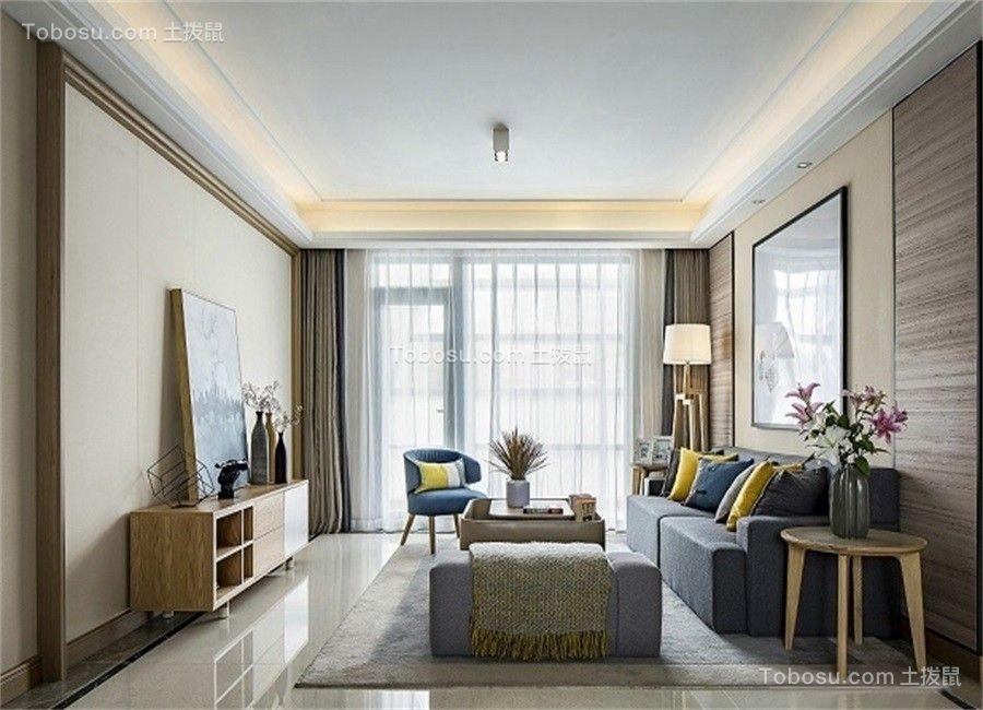 99平米清新北欧风格三居室装修效果图