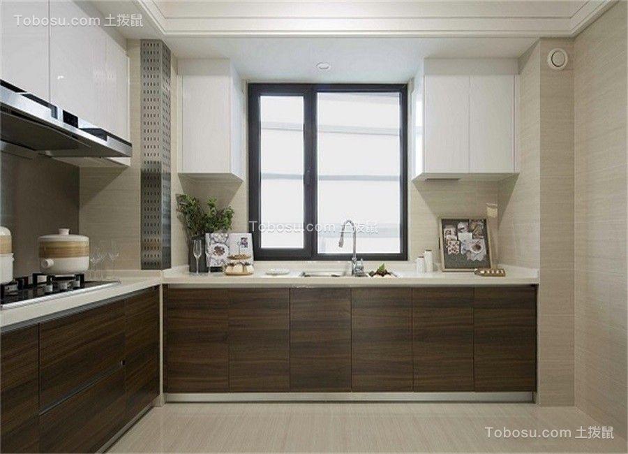 厨房咖啡色橱柜北欧风格装潢设计图片