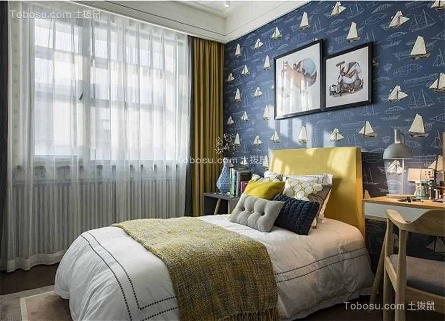 卧室彩色背景墙北欧风格装饰效果图