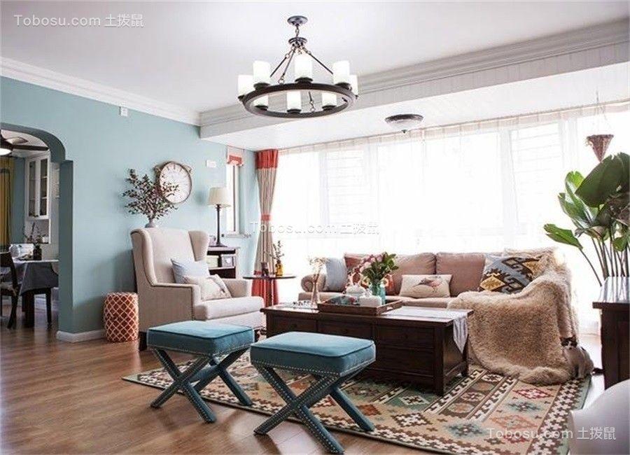 96平米美式混搭风格两居室装修效果图