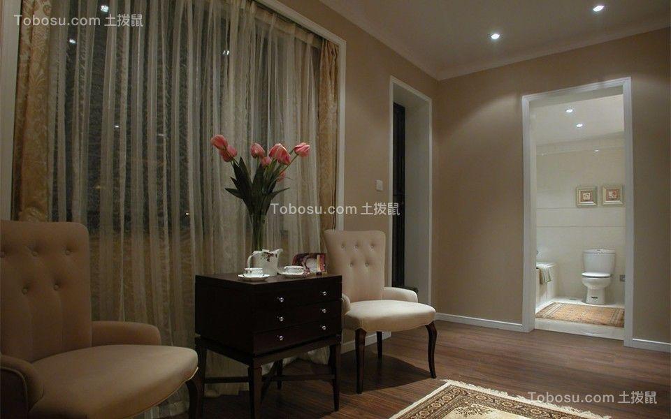 卧室 窗帘_简欧风格80平米跃层室内装修效果图
