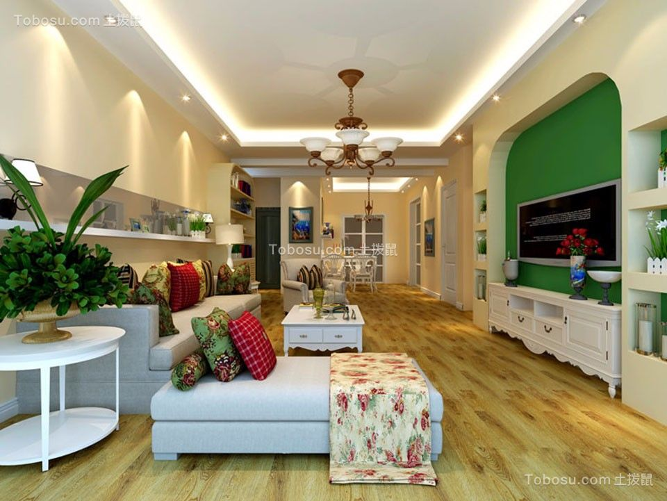 16万预算99平米三室两厅装修效果图