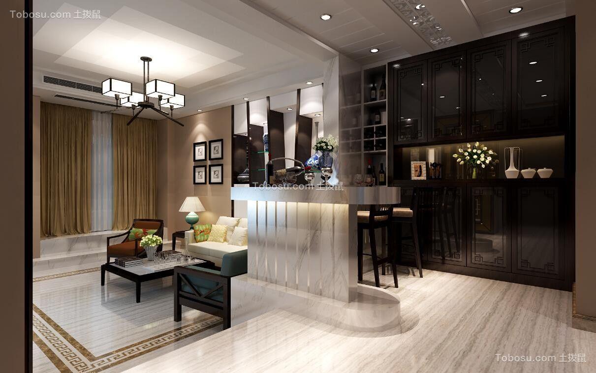 客厅白色吧台新中式风格装饰图片