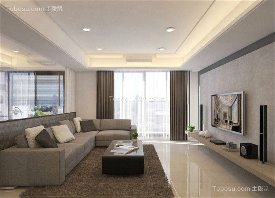 147平米现代简约风格三居室装修效果图