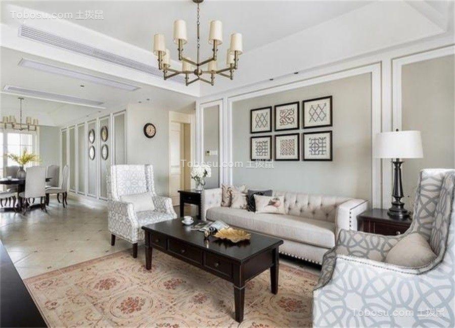 客厅灰色照片墙美式风格装潢图片