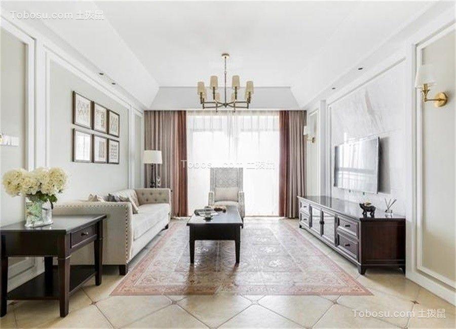 客厅粉色窗帘美式风格装修设计图片