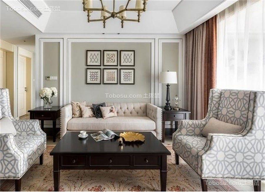 客厅彩色沙发美式风格装饰设计图片