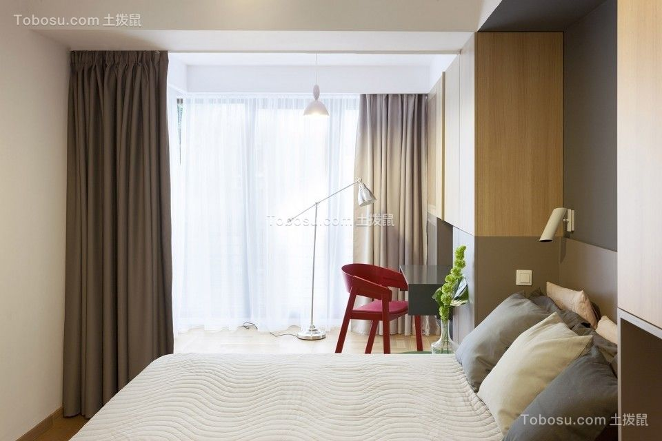 卧室咖啡色窗帘现代风格装潢效果图