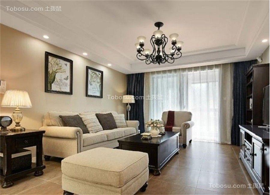 客厅白色吊顶美式风格装饰效果图