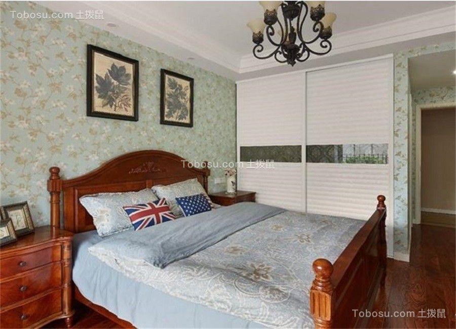 卧室咖啡色床美式风格装潢设计图片