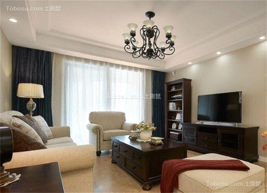 客厅绿色窗帘美式风格效果图
