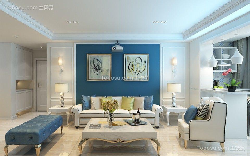 地中海风格82平米两室两厅新房装修效果图