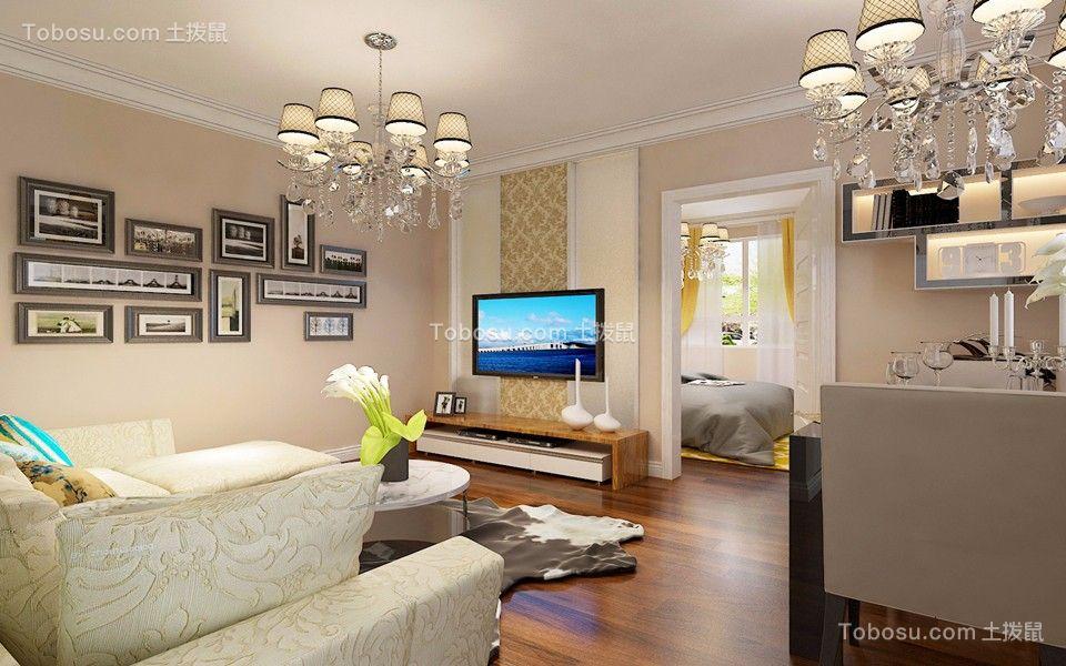 客厅黄色照片墙简约风格装修效果图