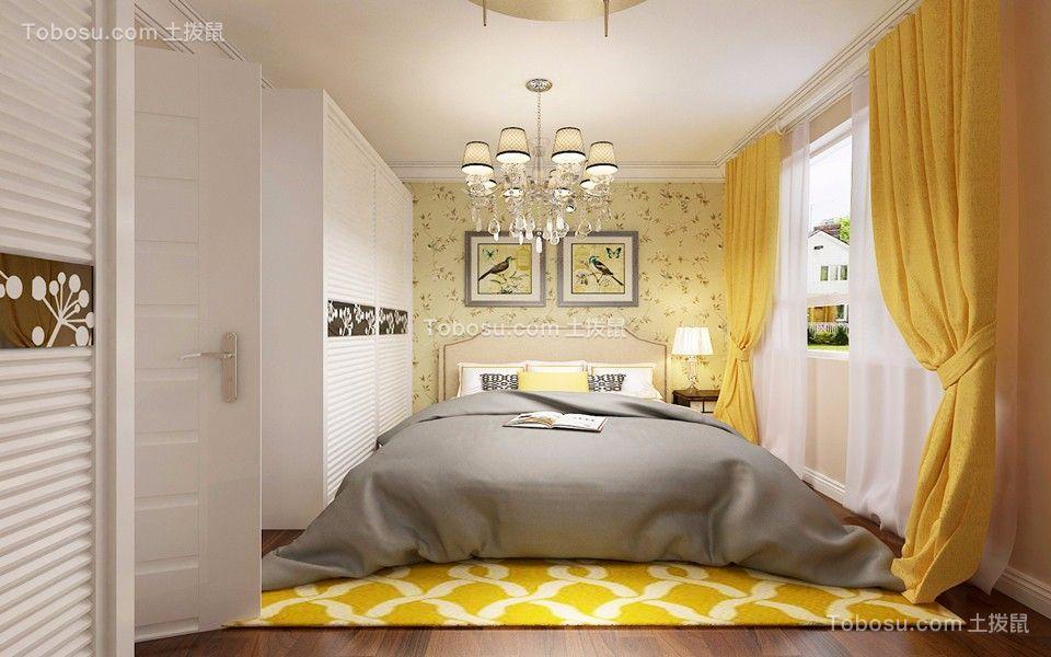 卧室黄色窗帘简约风格装饰效果图