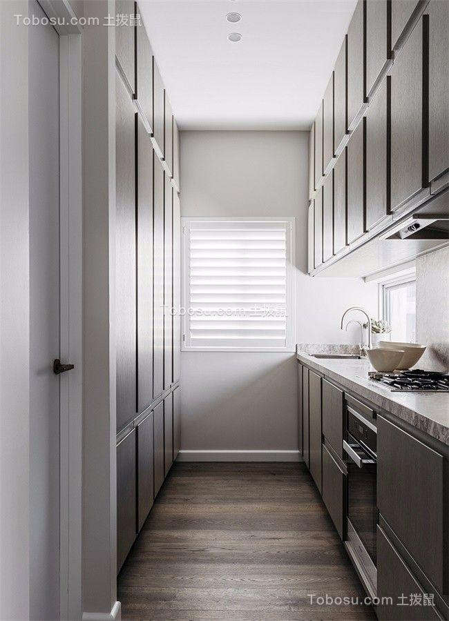 厨房灰色橱柜北欧风格装饰效果图