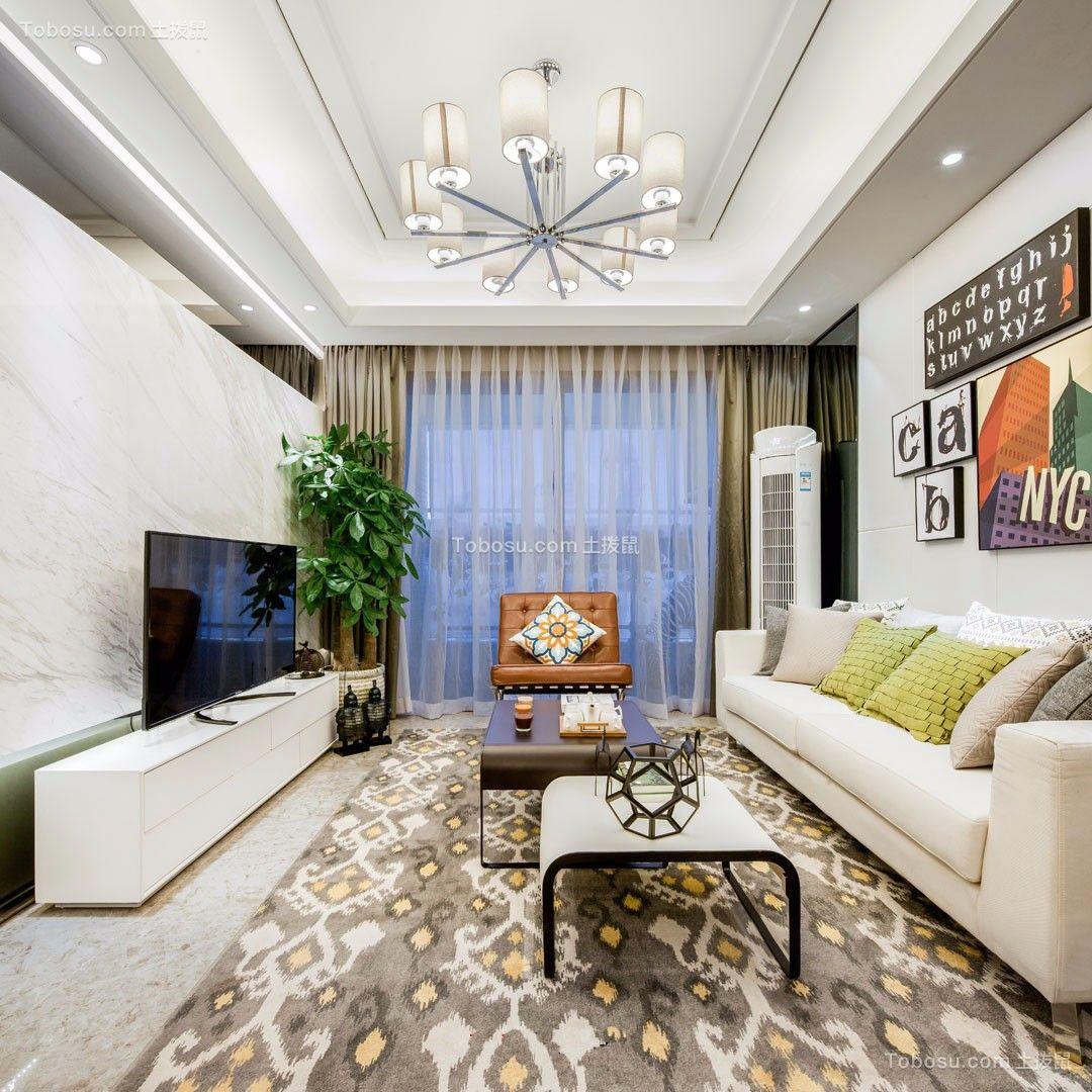 89平米现代简约风格二居室装修效果图