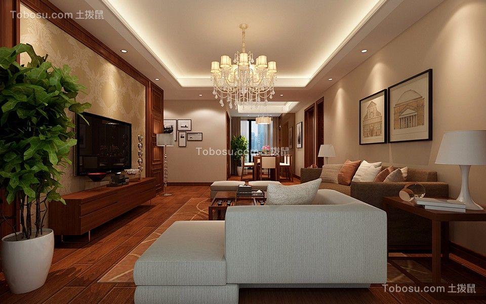 客厅白色吊顶混搭风格装潢效果图