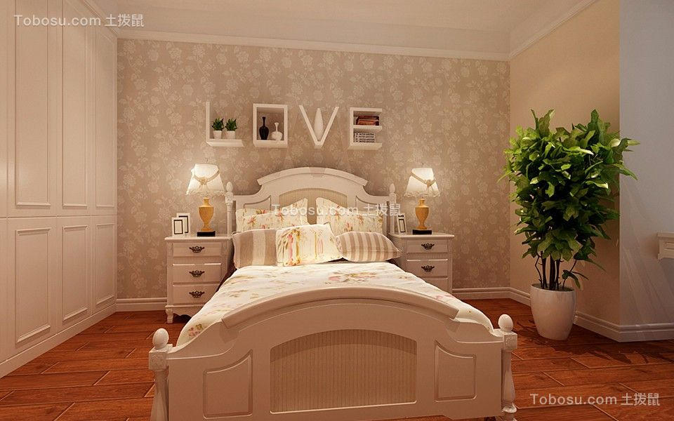 卧室白色床混搭风格装修图片