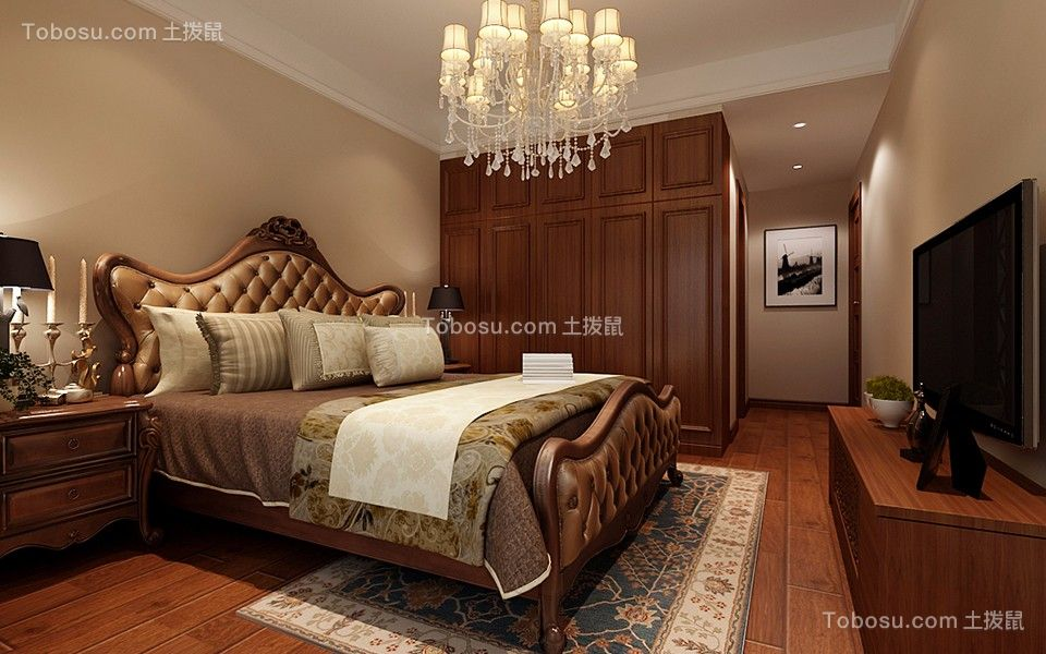 卧室咖啡色衣柜混搭风格装潢图片