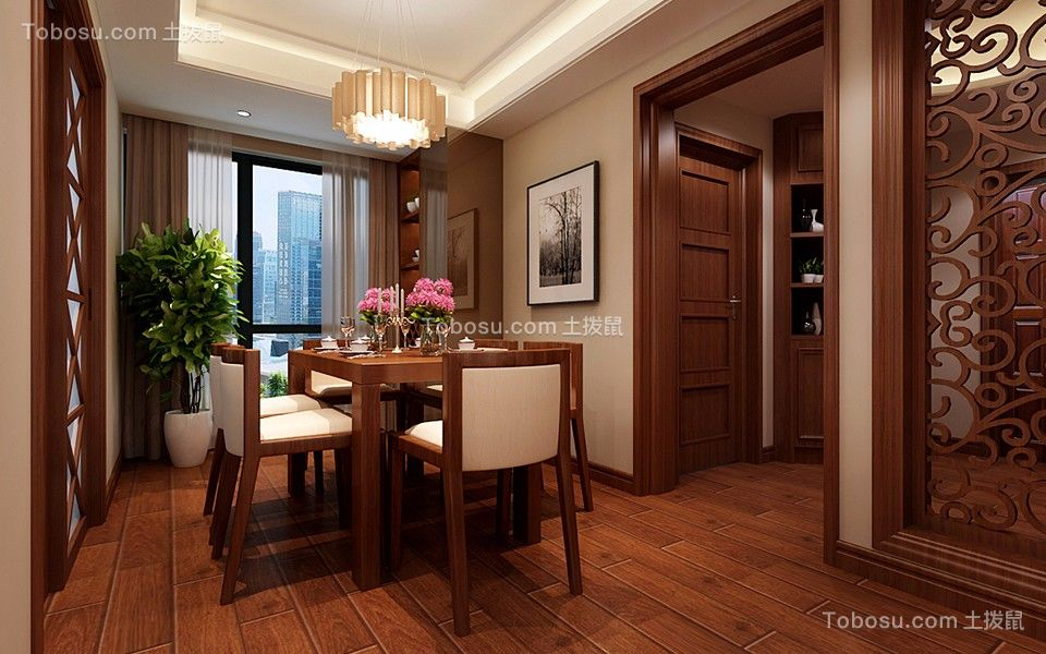 餐厅咖啡色餐桌混搭风格装修设计图片