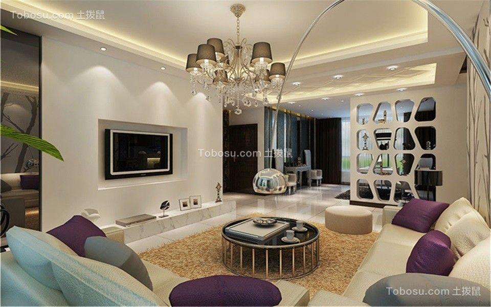 客厅黑色茶几现代简约风格装修设计图片