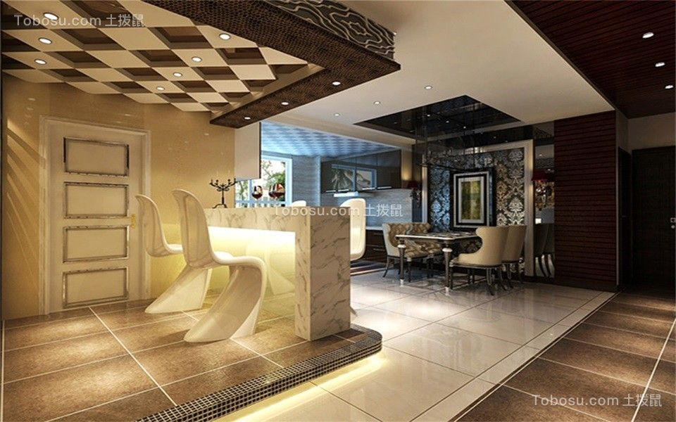 餐厅白色吧台现代简约风格装修效果图