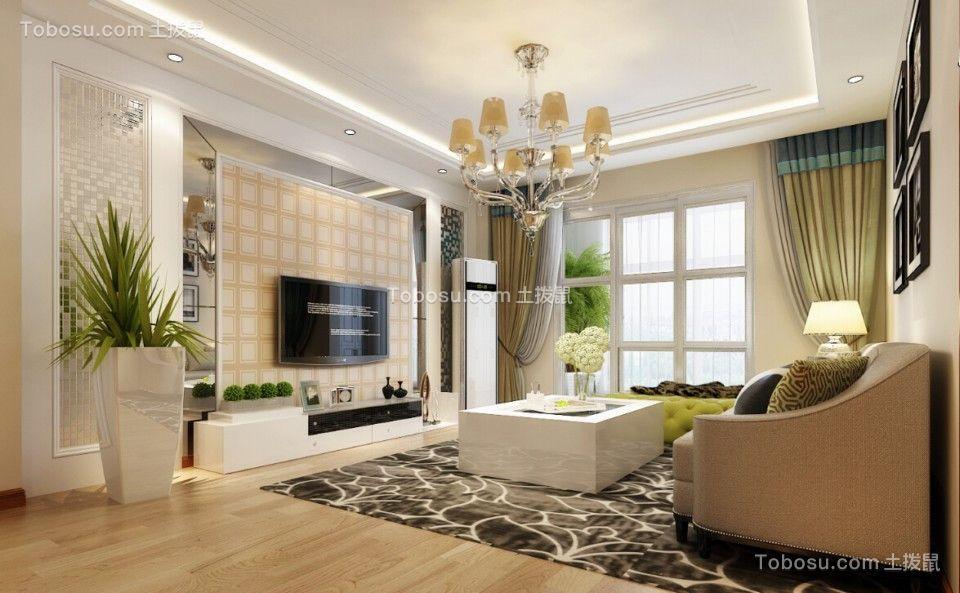 10万预算126平米三室两厅装修效果图
