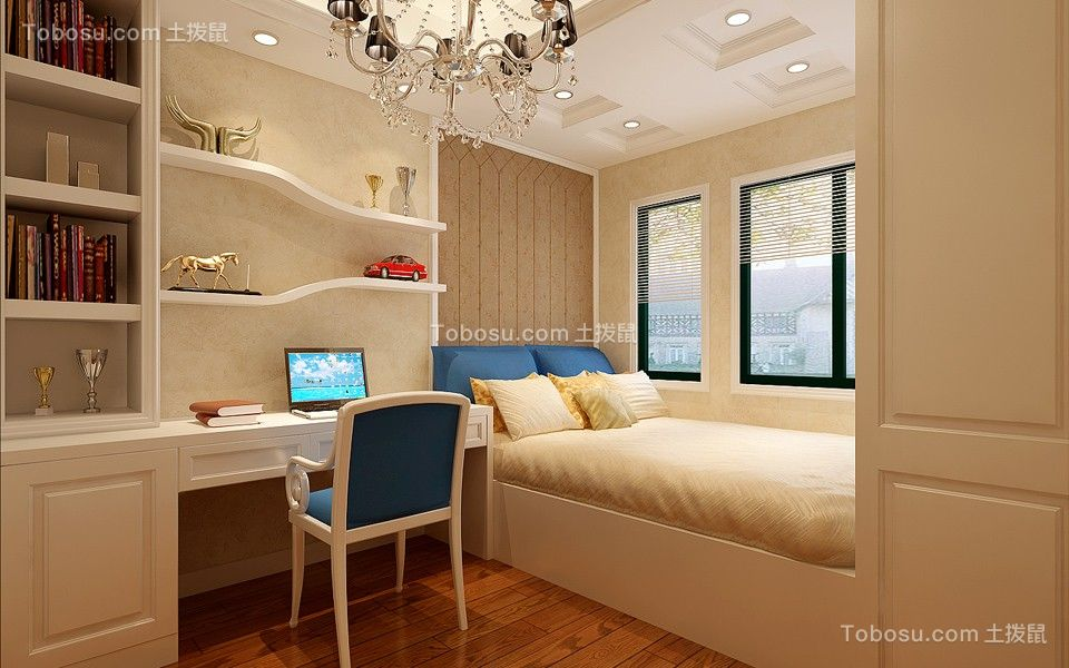儿童房白色书桌欧式风格装饰图片