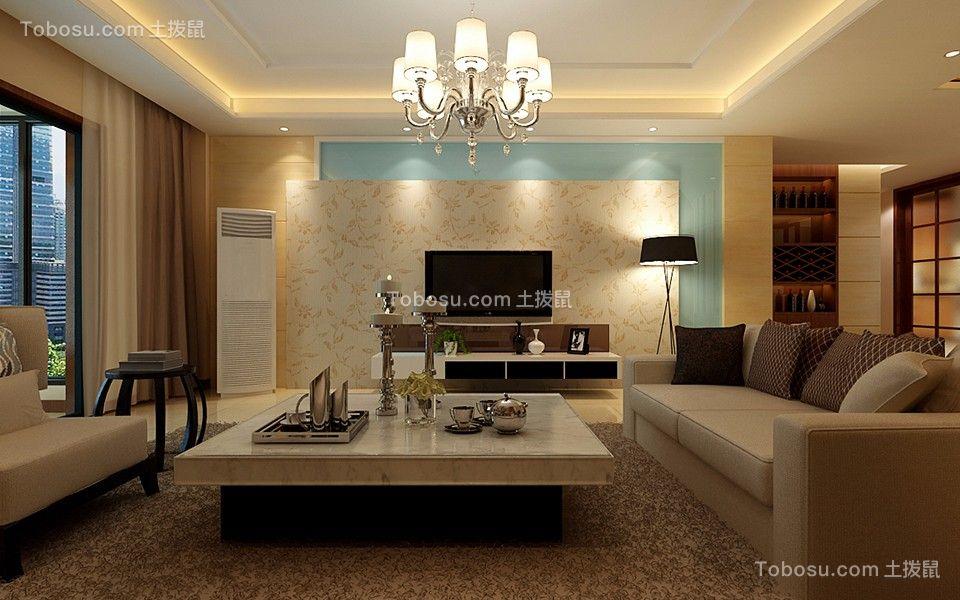 8.6万预算86平米两室两厅装修效果图